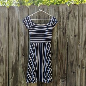 LOFT Open Criss Cross Back Striped Dress